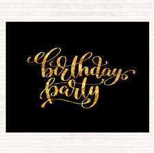 Black Gold Birthday Party Quote Mouse Mat Pad