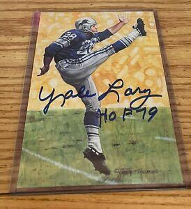 Yale Lary Autographed Signed Goal Line Art Card