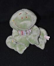 Peluche doudou Aldo la grenouille NOUKIE'S vert bandana rayé 12 cm assis NEUF