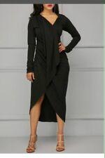 V Neck Long Sleeve Asymmetric Hem Draped Black Dress Black Asymmetric Hem
