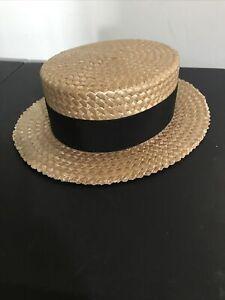 Antique Vintage Qualita Extra Elite Men's Boater Skimmer Straw Hat Size 7