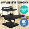 3 Tier Adjustable Computer Standing Desk Superior MDF Workstation Adjustable