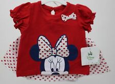 Disney Minnie Mouse Girls 2 Pc Red Shirt & Skegging Skirt Set Sz 6-9 months NWT