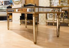 Dining Table Gold Marble Large Rectangular Kitchen 2mx0.9m
