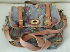 Fossil Canvas / Leather Trim Satchel Messenger Shoulder Bag