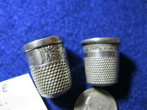 2 ANTIQUE Vtg STERLING SILVER THIMBLES  both close to sz 8? decorated  Lot E