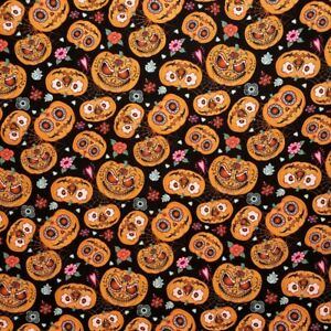 Halloween Pumpkin 100% Cotton Fabric Day of the Dead Autumn Fall Crafty Sewing