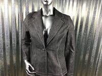 Randolph Duke Denim Women 8 Fitted Stretch Blazer Black Wash Elastic Details NEW