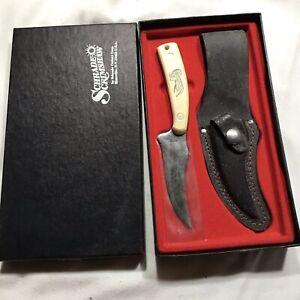 SCHRADE USA Bighorn Sheep Scrimshaw Sharpfinger Knife SC-502 1981 Old Timer