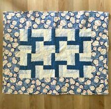 """Handmade Baby Boy Baseball Quilt 28"""" x 36"""" Blue Patchwork Play Mat"""