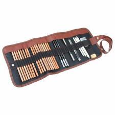 Sketching Set w/ 29 pcs Pencil,Charcoal,Eraser,Knife,Pen in Leather Roll Bag