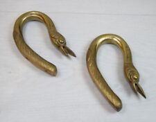 2 Antique Solid Brass Door Handles Geese Birds Swan Bird Collectible Art Deco