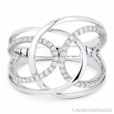 Fashion Ring in 14k White Gold 0.31ct Round Cut Diamond Right-Hand Overlap Loop