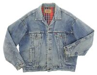 Vintage LEVIS Denim Jacket USA Large Mens TRUCKER Coat MOTORCYCLE Blanket Lined