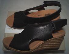 CLARKS Women's Lafley Rosen Platform Black Leather, 8.5