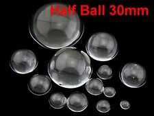 6 Transparent Clear Flatback Glass Half Sphere Ball Cabochon 30mm No Hole