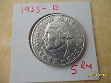5 reichsmarks 1933-D Muy Raro Luther Tercer Reich Moneda De Plata Deutsches Reich
