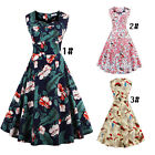 Vintage 50s 60s Retro Floral Rockabilly Pinup Housewife Party Swing Dress Gowns