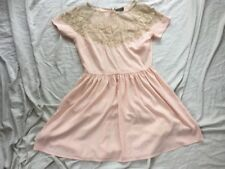 Top Shop TOPSHOP UK10 Flesh Nude Pink Occasion Party Dress Lace Used  Bargain