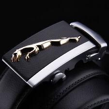 New Fashion Mens Leather Belt Strap With Jaguar Leopard Automatic Alloy Buckle