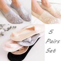 5 Pairs Women Lace Socks Boat Invisible Anti-Skid Low Cut No-show Non-Slip Liner