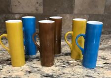 Lot Of 6 Schmid 60 Lagardo Tackett Expresso Demitasse Cups Yellow Brown N Blue