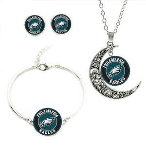 NF03 Philadelphia Eagles team logo set -necklace, bracelet, earrings-