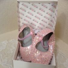 One Ruby Lane Baby Girls Pink Sparkle Soft Sole Shoes 7 8 18 24 months