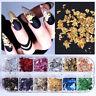 12 Colors/Box Nail Foils Metallic Gold Color Nail Flakes 3D Nail Art Sticker