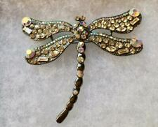 Clear and Aurora Borealis Crystals in Dragonfly Pin Brooch Pendant