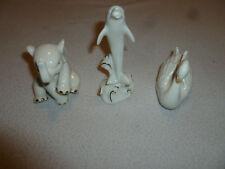 Lenox Figurine Lot Of 3 Gold Trim China Swan Dolphin Elephant Small Ivory