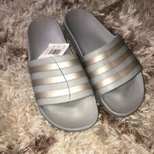 Adidas Womens Adilette Aqua Slides Sz 10 Grey/Platino Metallic/Grey