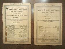 MODEL CARD SELECTIONS FOR RECITATION,1886, 2 CARD SETS INTERMEDIATE AND ADVANCED