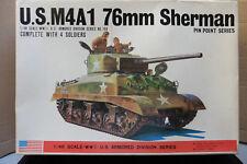 BANDAI 1/48 U.S M4A1 75mm SHERMAN + 4 SOLDIERS WWII TANK MODEL KIT BOXED VINTAGE