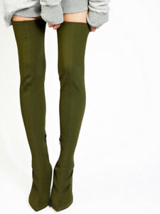 Free People Womens Paris OTK OB724083 Boots Pointed Green Size UK 4