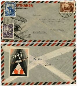 PERU LUFTHANSA ILLUSTRATED ENVELOPE 1936 CONDOR + MIDO WATCHES ADVERTISING LABEL