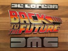 """Set 3 Emblems Logo Badge Sign """"Back To The Future"""" Compatible With DMC DeLorean"""