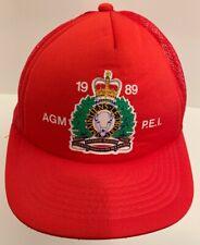 Vintage 1989 RCMP Royal Mounted Police AGM PEI Red Snapback Mesh Trucker Hat