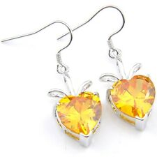Gorgeous Shiny Love Heart Golden Citrine Gemstone Silver Dangle Drop Earrings