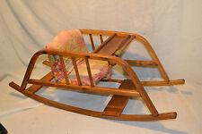 Vtg Oak wood childs Baby Doll Rocker Rocking Chair