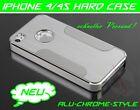 Apple iPhone 4 4s Carcasa Aluminio Duro Funda Cromo Metal Cubierta Protectora