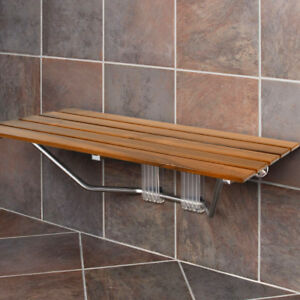 "Clevr 36"" ADA Compliant Double Seat Teak Wood Folding Shower Bench Coated Modern"