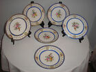 SIX antique SEVRES PLATES handpainted flowers gilt royal blue bleu de roi