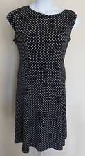 Classic Black White POLKA DOT Dot DRESS Ladies Sz XL Stretch Slinky Retro Look