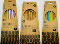 4 x Reusable Drinking Straws | Silicon Stainless Steel | Includes Cleaning Brush
