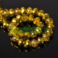 Wholesale 10mm Charms Plated Faceted Rondelle Crystal Glass Loose Spacer Beads
