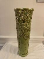 """Light Green Ceramic Cylinder-shaped 15"""" Tall Decorative Vase with cutout accent"""