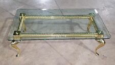 Hollywood Regency Solid Brass and Glass Cabriole Leg Coffee Table (Will Ship)