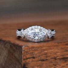 Luxury Marquise Cut White Sapphire CZ Wedding Ring 925 Silver Women Jewelry Gift