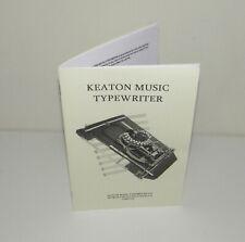 KEATON MUSIC TYPEWRITER INSTRUCTION MANUAL Reproduction